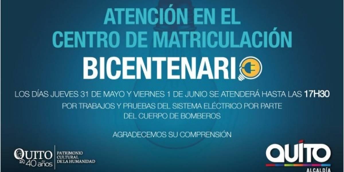 Se atenderá con nuevo horario en el centro de matriculación vehicular Bicentenario