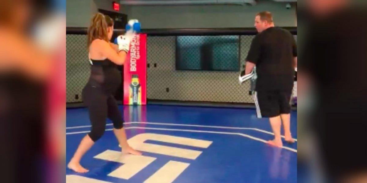 VIDEO: Ex campeona de UFC entrena con nueve meses de embarazo