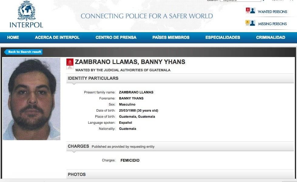 alerta de Interpol por Banny Zambrano