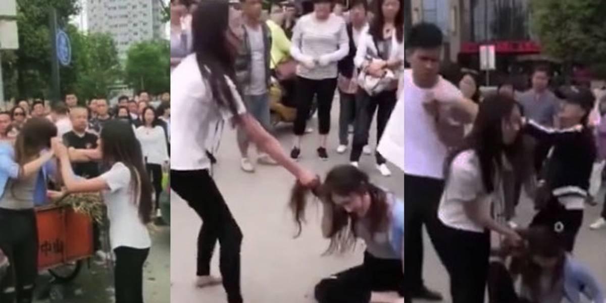 VIDEO. Mujer arrastra por las calles a amante de su esposo, el final es triste