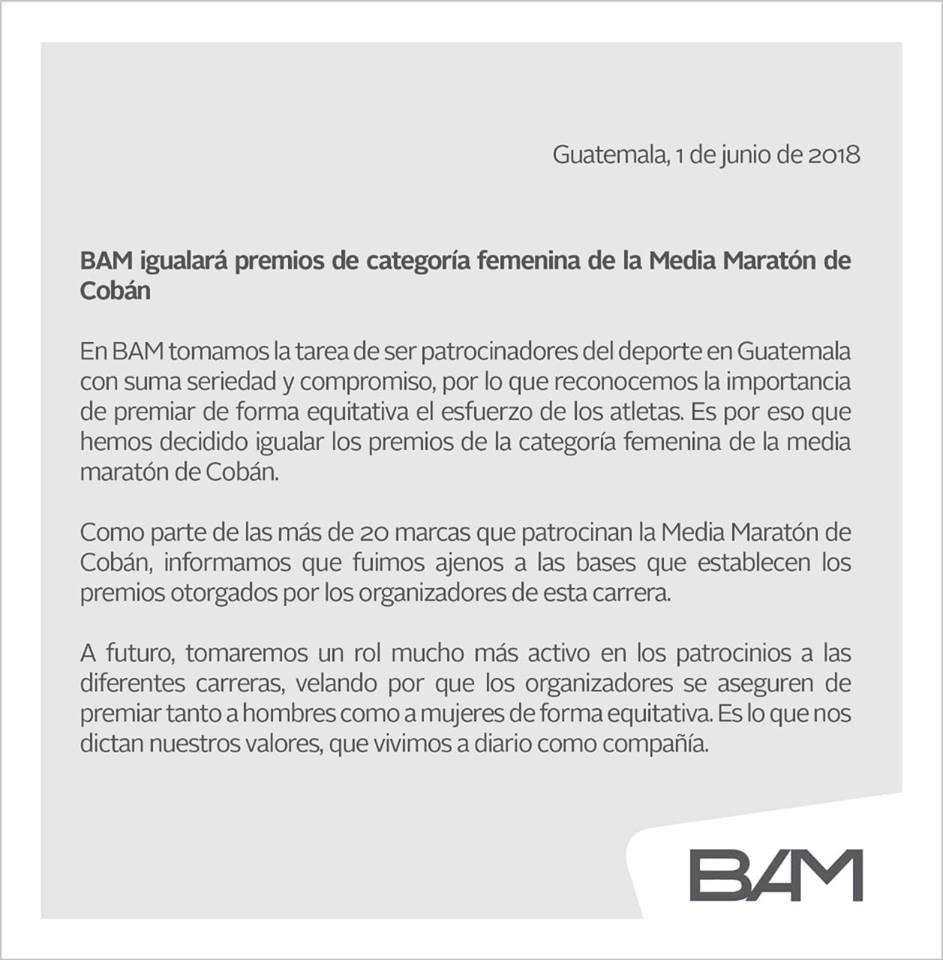 Este es el comunicado emitido por BAM