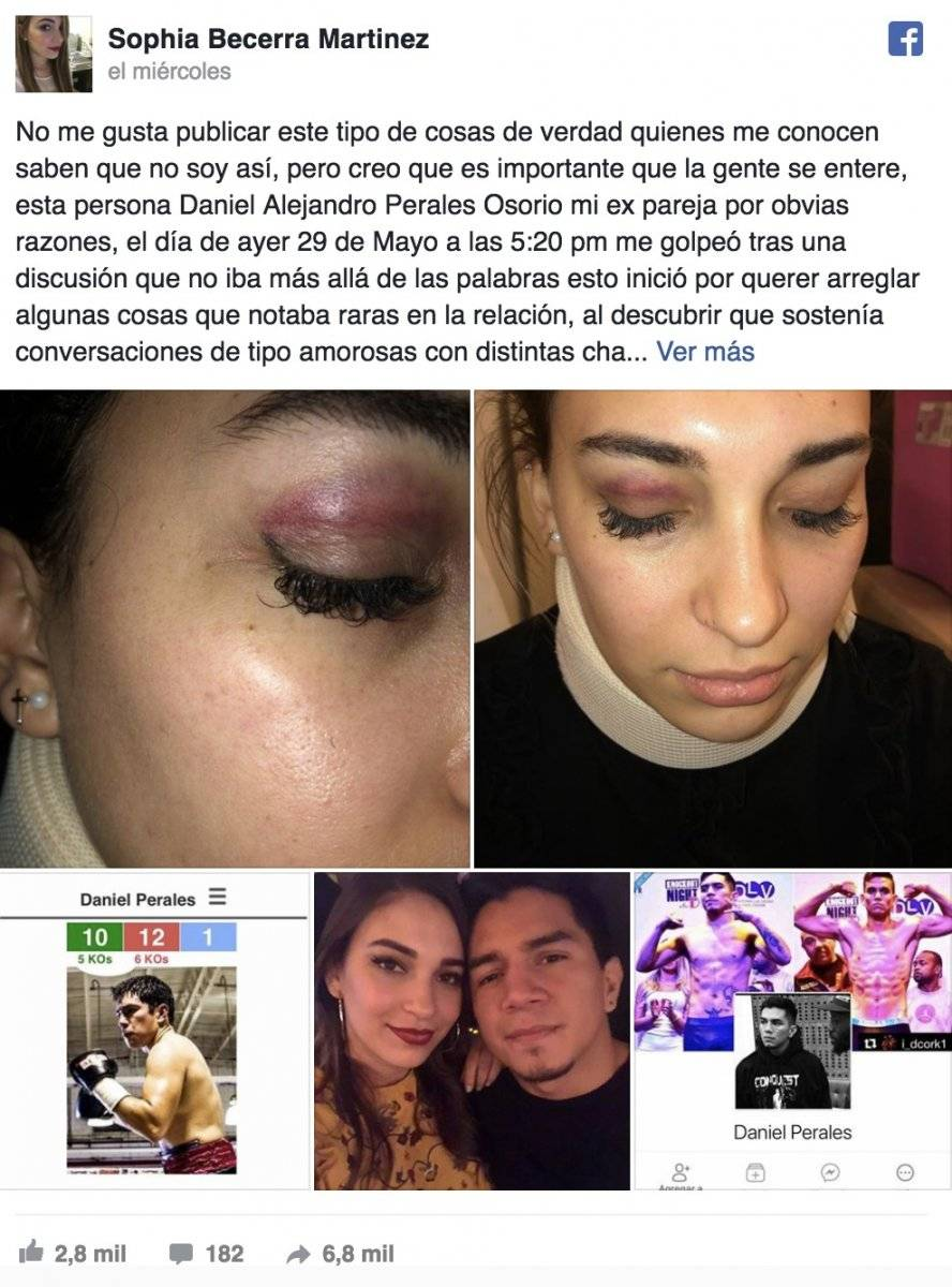 Denuncia de la novia del boxeador