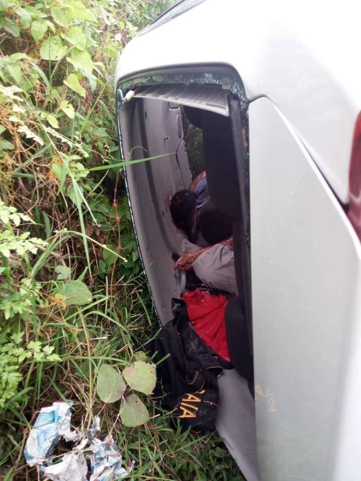 Dos agentes antinarcóticos fueron ultimados en Escuintla. Fotos: PNC