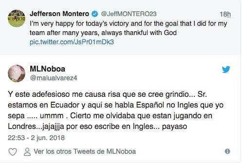 Tuit de Jefferson Montero Twitter