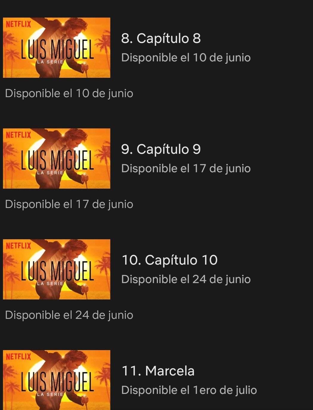 Capítulos en Netflix.