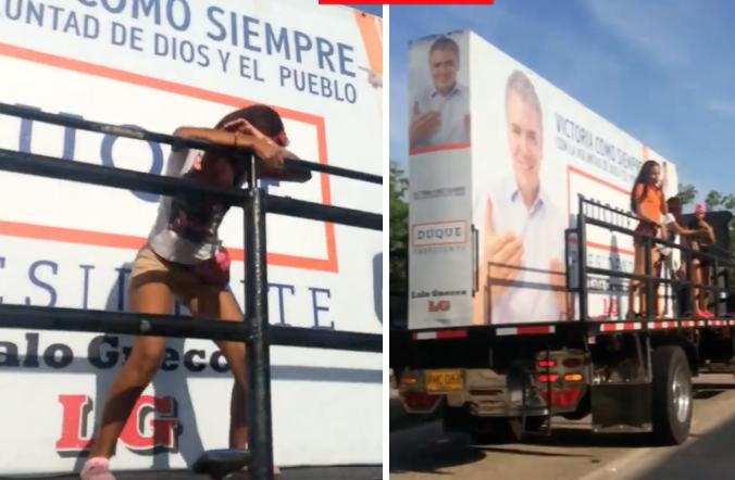 Video: la caravana de Duque con chicas en pantaloncitos, bailando una canción de Daddy Yankee