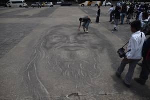 Homenaje en arena para víctimas del volcán de Fuego