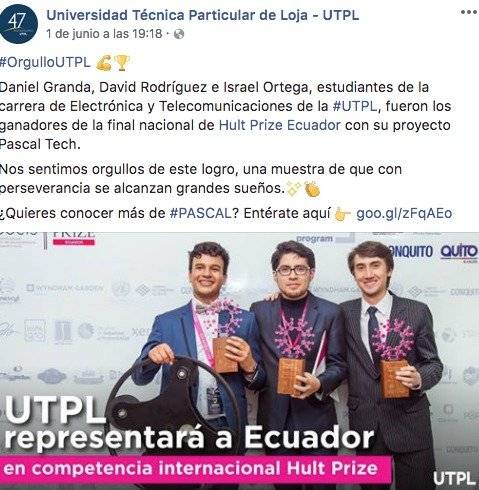 Estudiantes de Loja llevan su emprendimiento,Pascal Tech, a competencia internacional Facebook