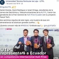 Estudiantes de Loja llevan su emprendimiento,Pascal Tech, a competencia internacional