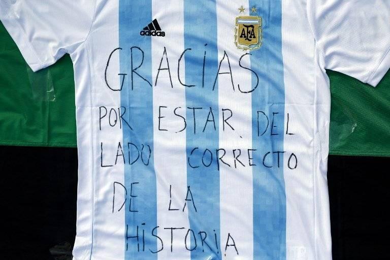 Una camiseta de Argentina tiene un claro mensaje