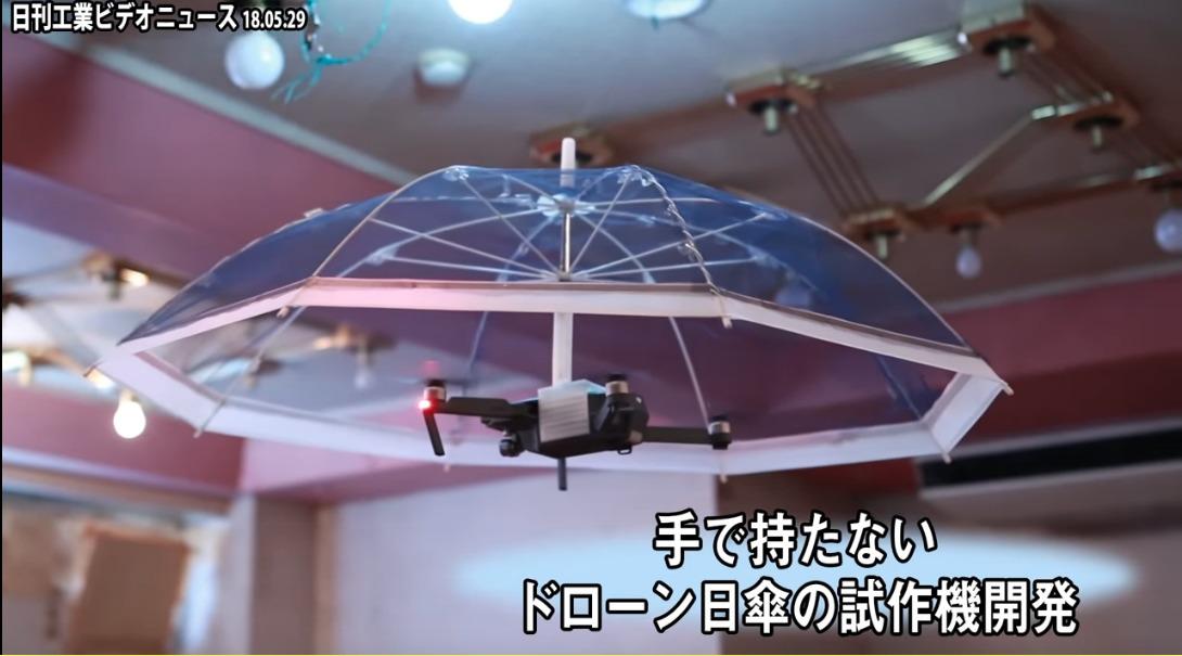 Una empresa japonesa creó una sombrilla voladora a partir de un dron