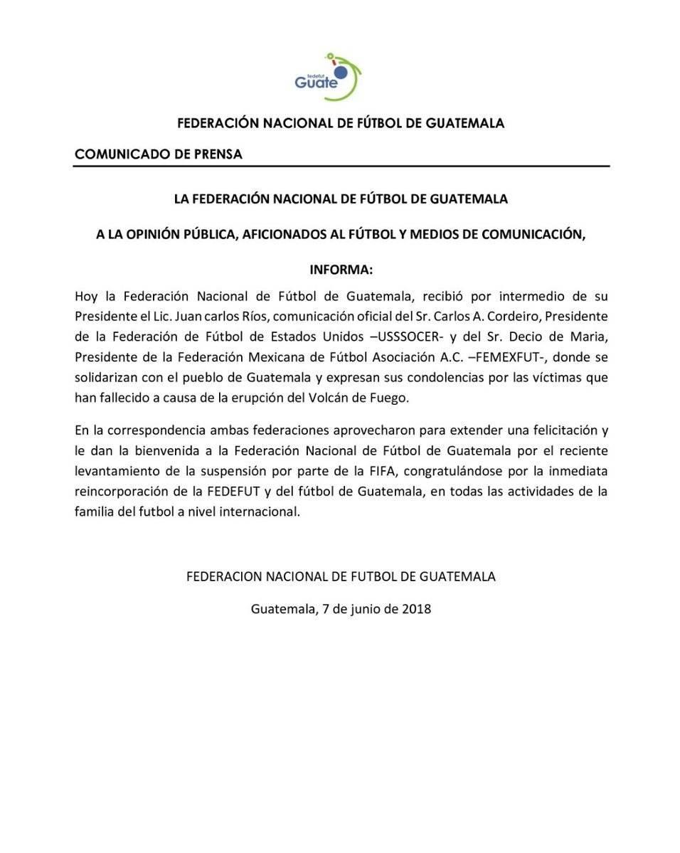 El comunicado de la Federación Nacional de Futbol (Fedefut)