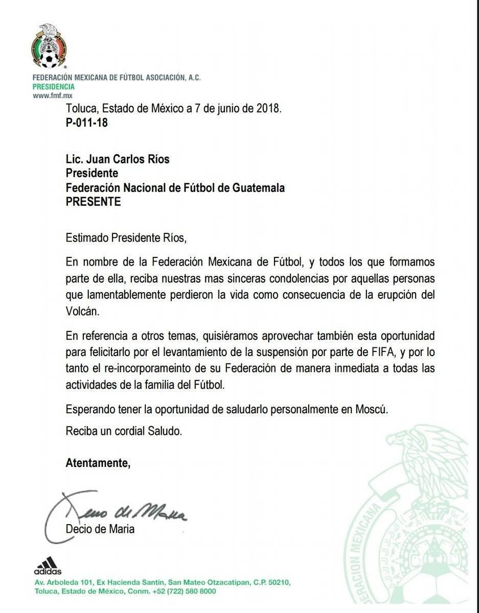 Comunicado de la Federación Mexicana de Futbol Asociación, A.C.