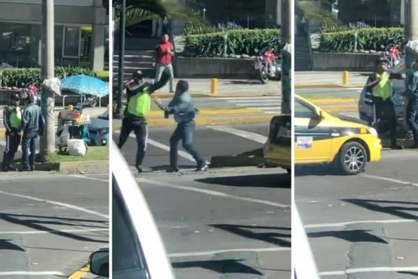 Captan pelea entre Agente de Tránsito y ciudadano en Quito