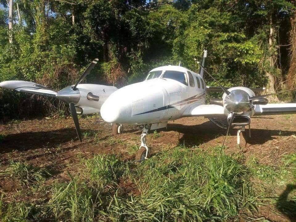 Avioneta incautada en Petén. Foto: PNC