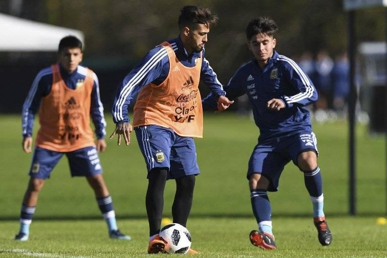 Manuel Lanzini en un entreno de la selección argentina