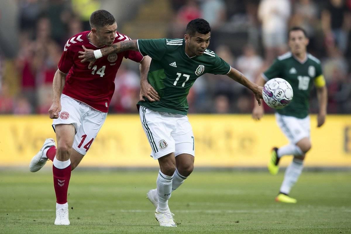 Acción del partido entre daneses y mexicanos