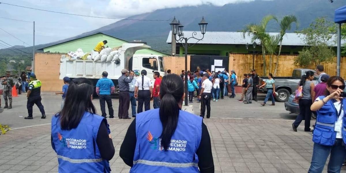 PDH verifica el trabajo que entidades públicas hacen por damnificados en Alotenango