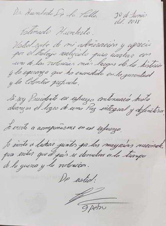 Carta de Petro a De la Calle