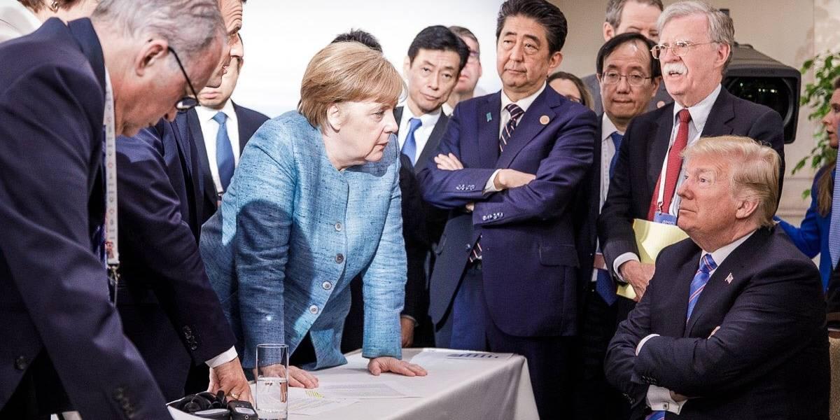 En el G7 Merkel regaña a Trump: foto se viraliza en redes sociales