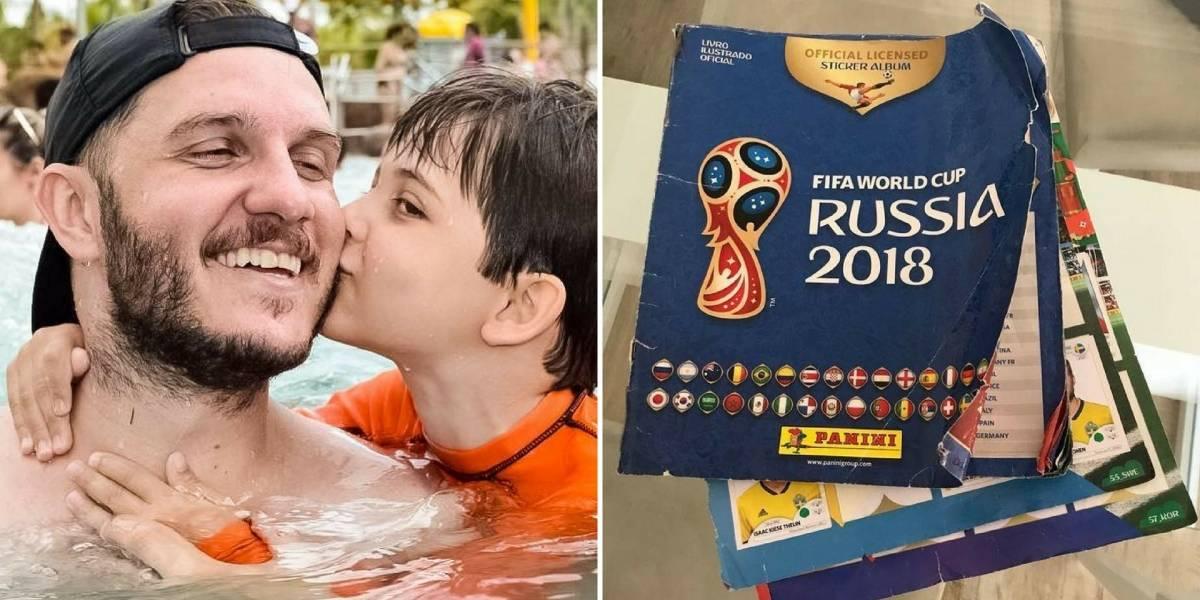 Pai usa álbum da Copa para ensinar importante lição ao filho de 7 anos