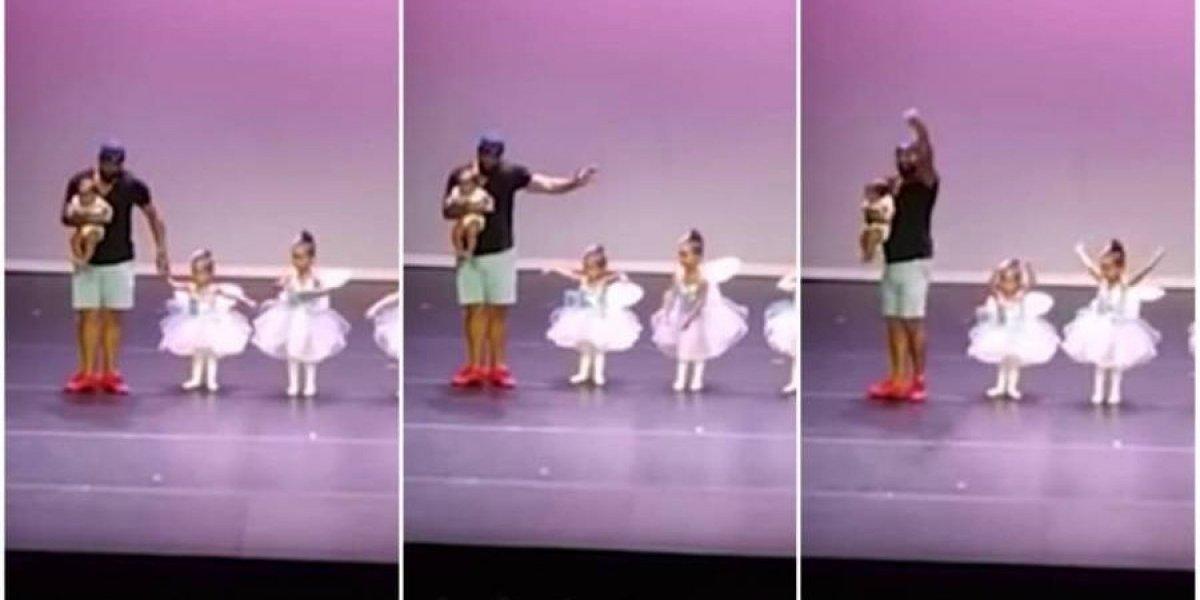 VÍDEO: Pai sobe no palco e dança balé com filha de dois anos que começou a chorar durante apresentação