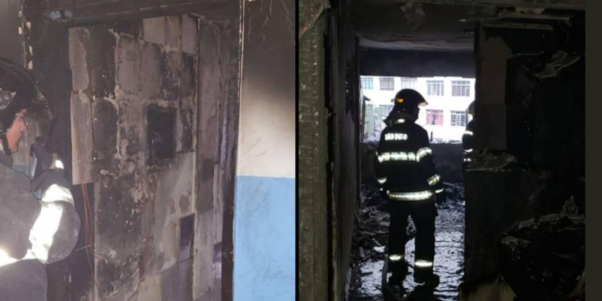 Durante incêndio, pai pula de apartamento com filho no colo