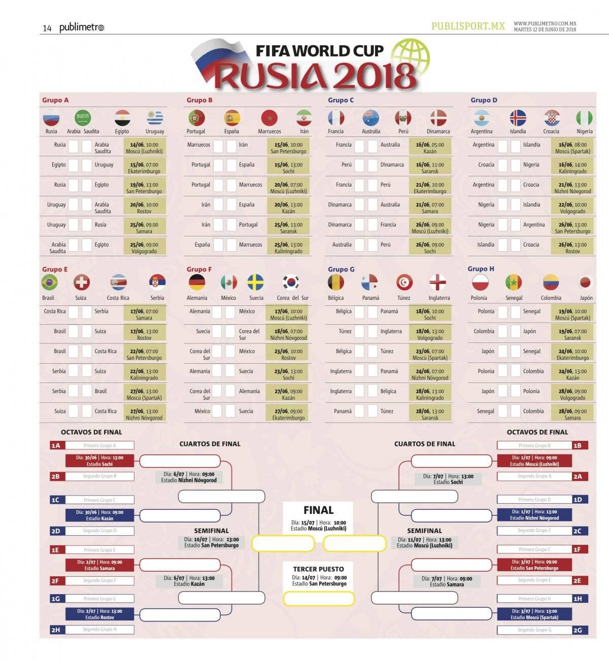 Mundial 2018: Calendario de los partidos de futbol por fecha, hora y estadio