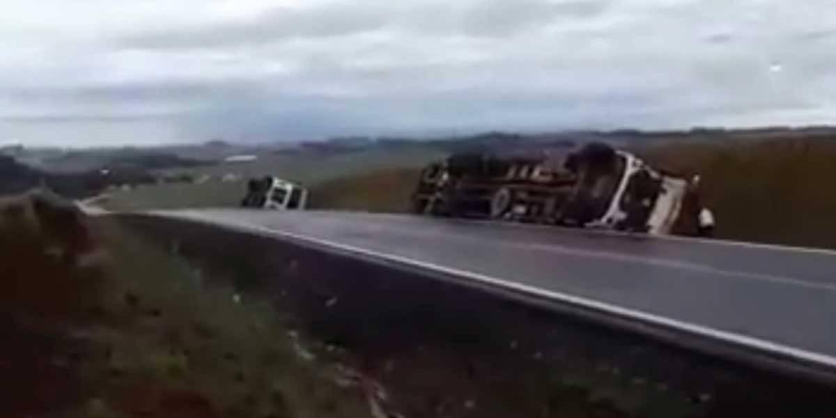 Forte tornado derruba caminhões no Rio Grande do Sul