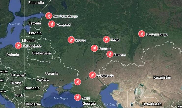 Estos son los 12 estadios del mundial de Rusia vistos desde el espacio