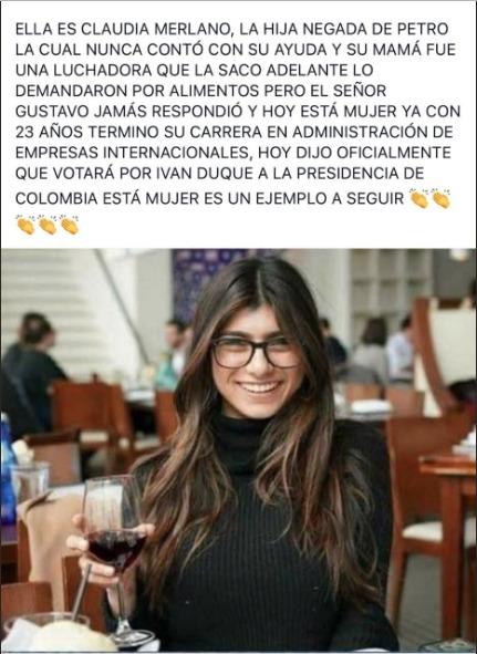 En Colombia Mia Khalifa resultó ser hija de un candidato presidencial