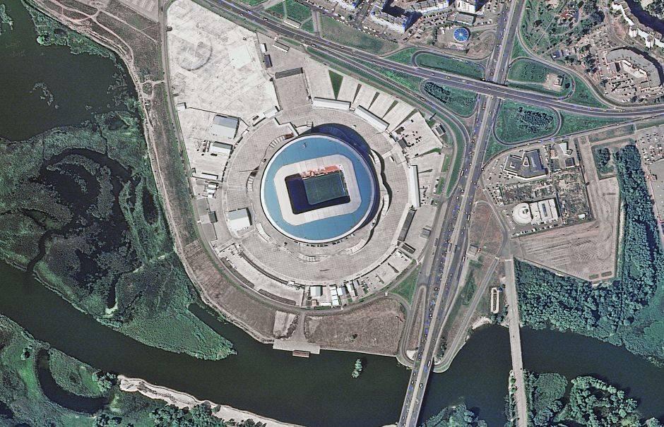 El Kazan Arena puede recibir a 45.500 espectadores. Su construcción costó 450 millones de dólares.