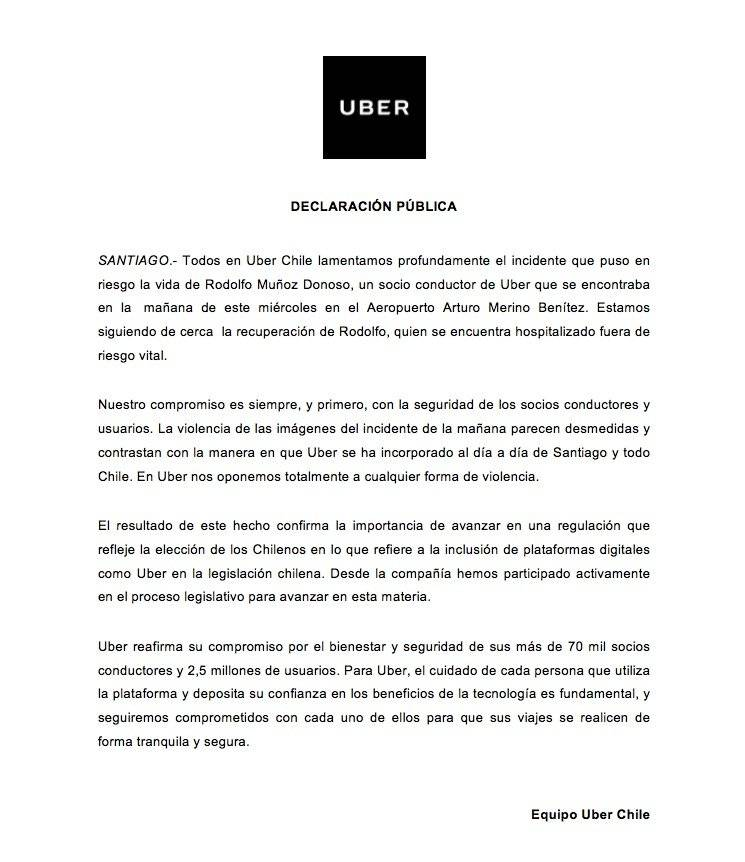 Policía le disparó a chofer de Uber en Chile