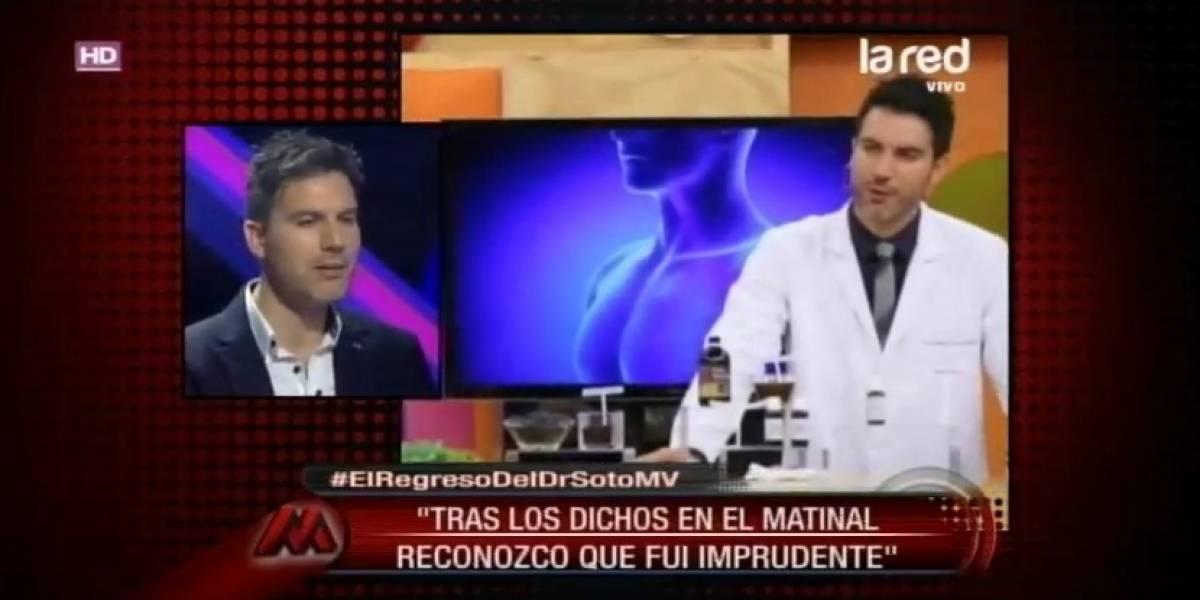 El polémico doctor Ricardo Soto volvió a la TV: Fui imprudente