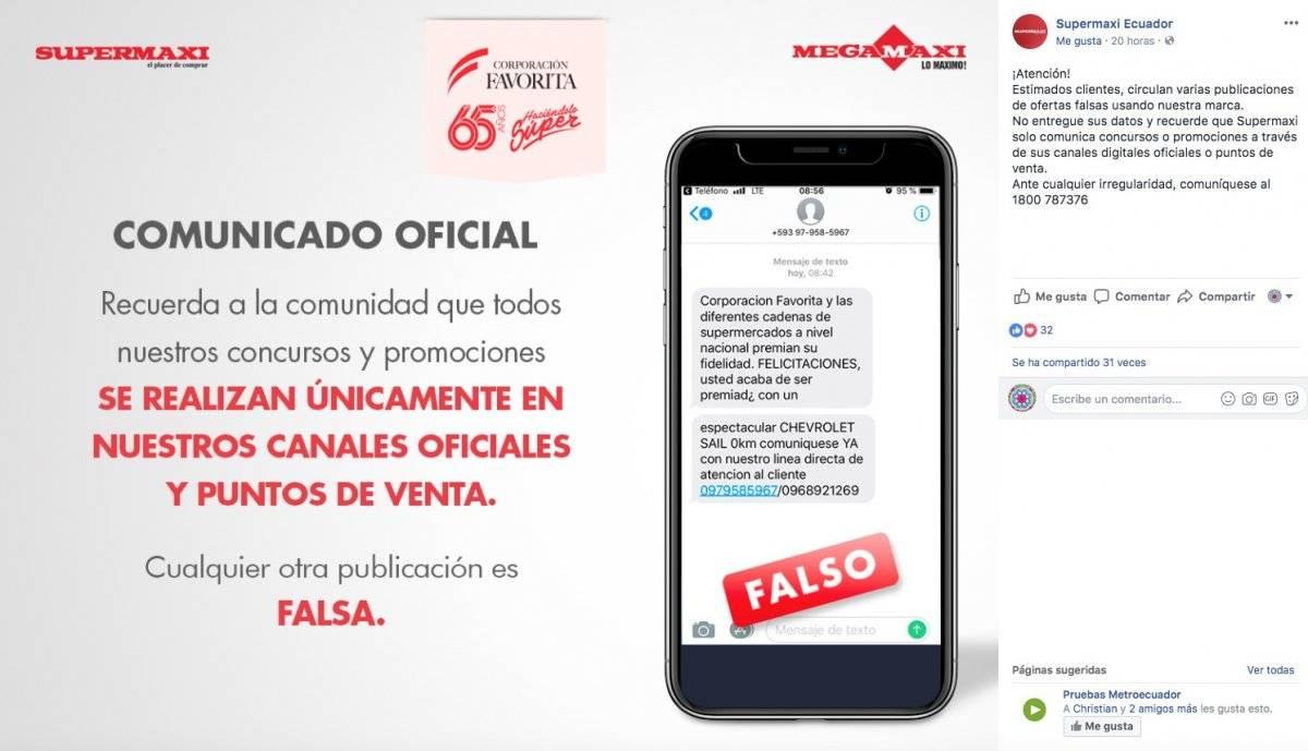 Supermaxi desmiente información sobre promociones y premios Facebook