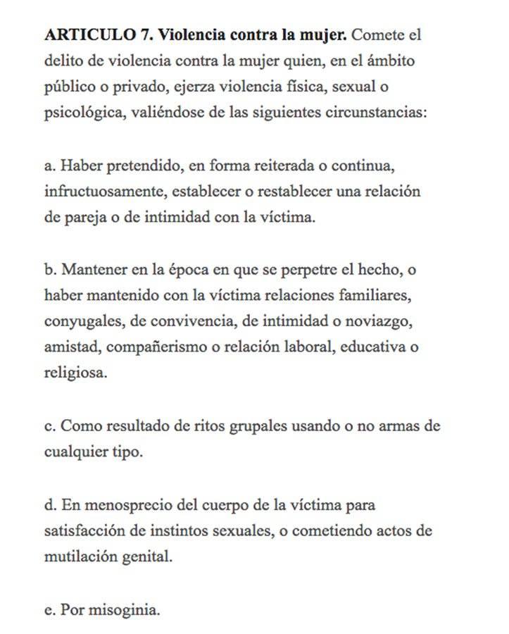 Artículo 7 Ley femicidio