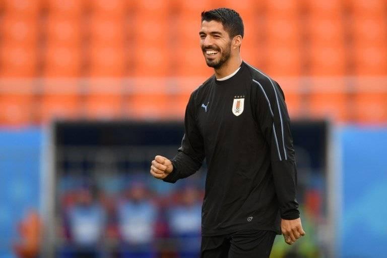 Luis Suárez en la práctica de Uruguay