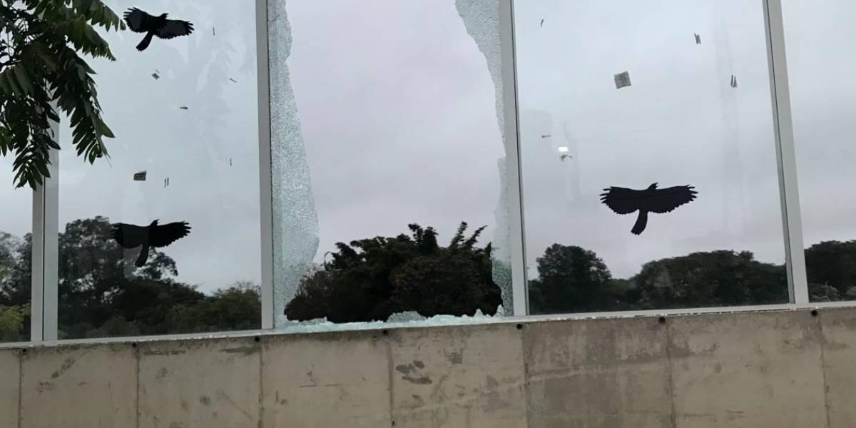 Mais um vidro da Raia Olímpica da USP é encontrado estilhaçado