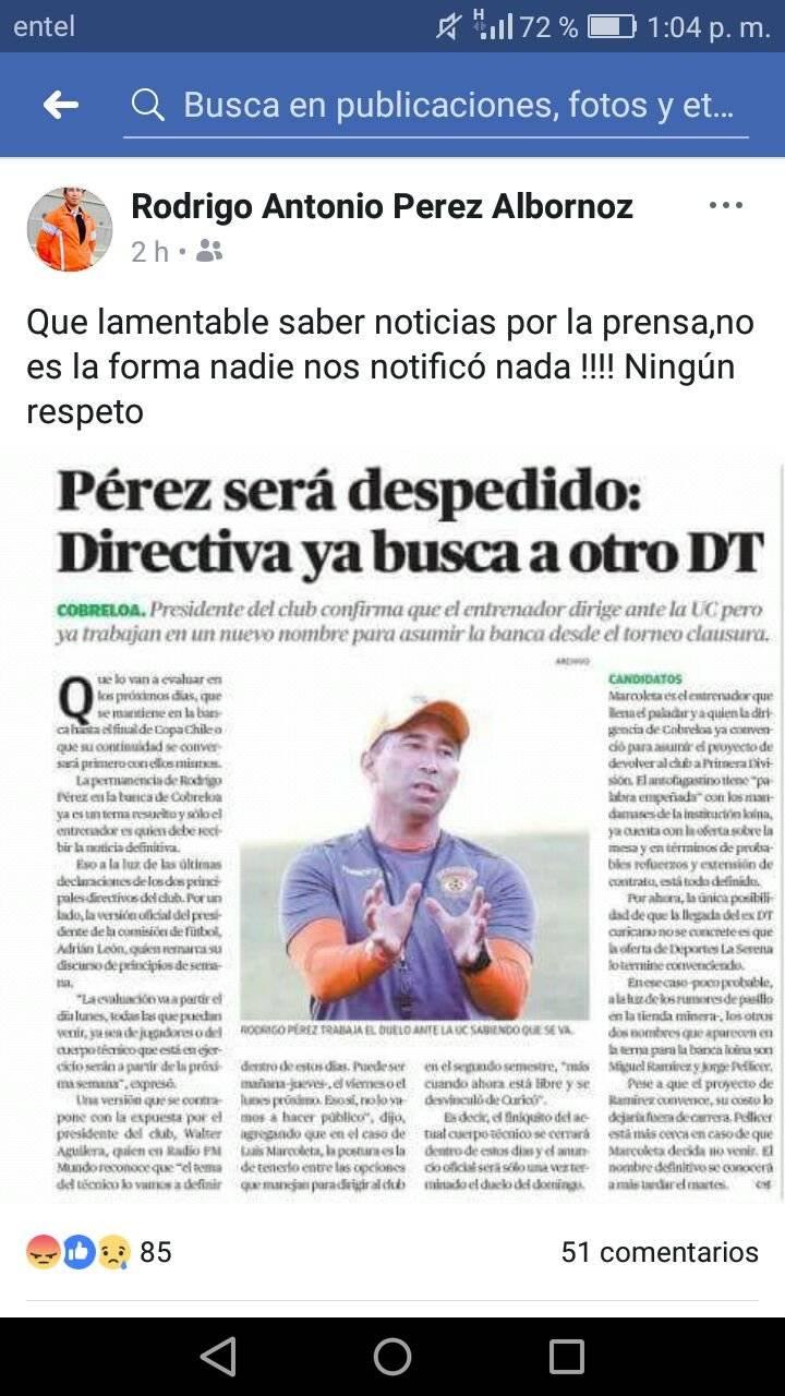 El descargo de Pérez por Facebook / Pantallazo
