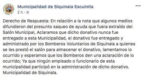 Aclaración de Municipalidad de Siquinalá