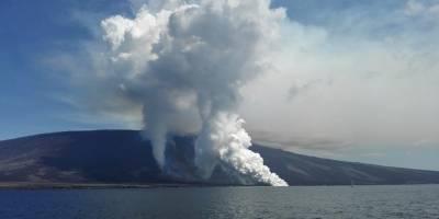 La cuenta de Twitter de Parque Galápagos a difundido diferentes imágenes de la erupción del volcán.