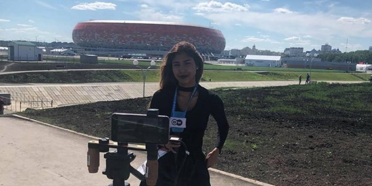 Presentadora colombiana fue acosada en vivo en el Mundial de Rusia