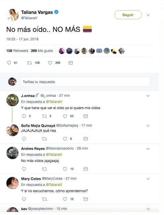 Captura de pantalla Twitter Taliana Vargas