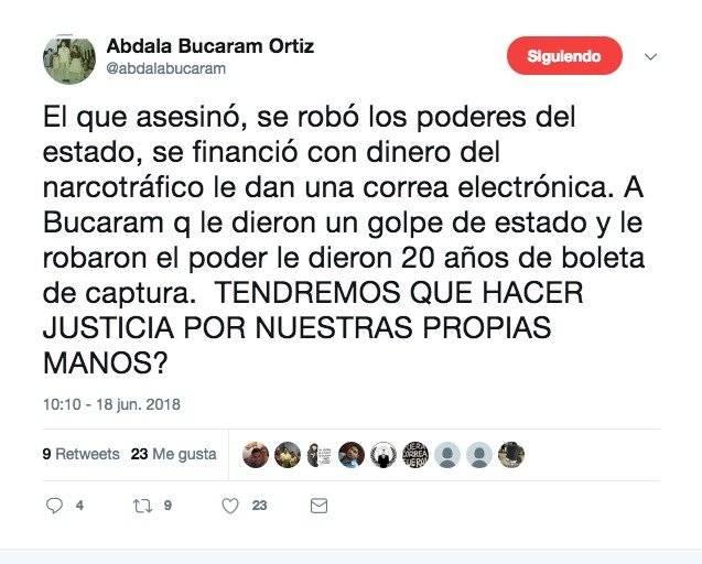 Twitter Abdalá Bucaram se pronuncia sobre el caso Balda y Rafael C.