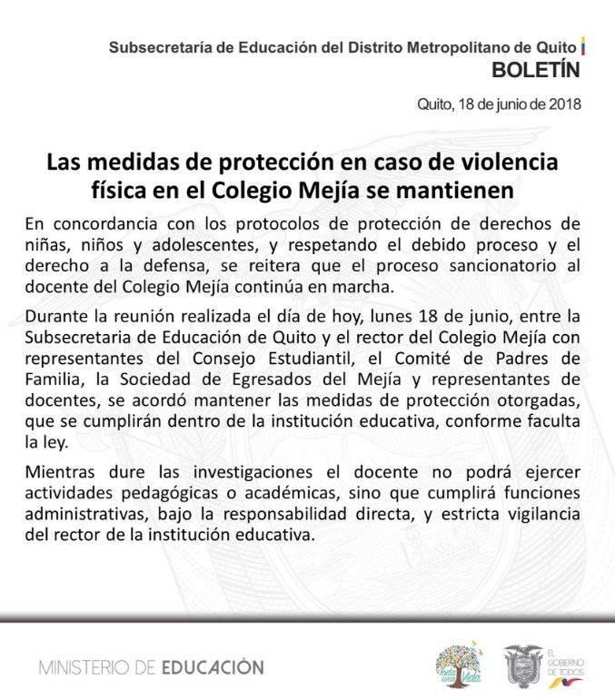 Colegio Mejía: Autoridades se pronuncian sobre profesor y presuntas agresiones a estudiantes