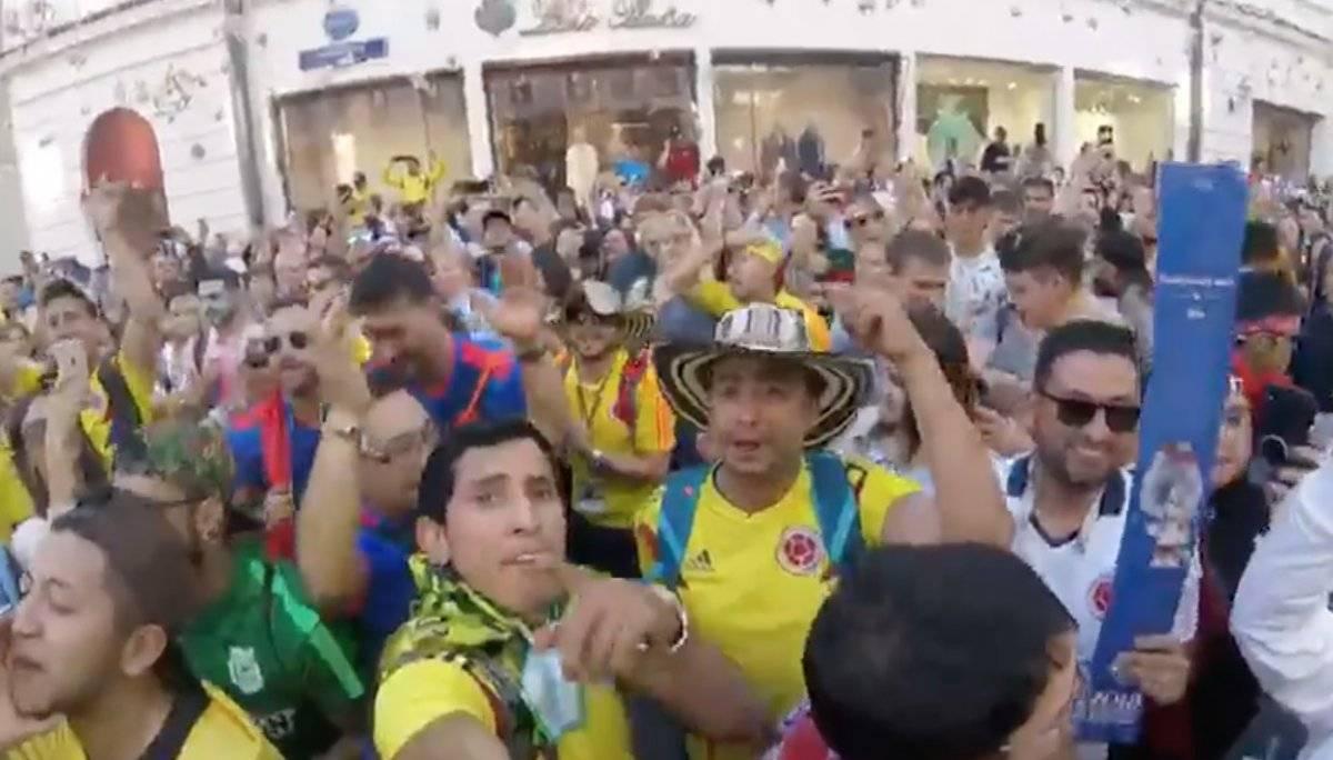 Captura Mundial: Colombianos celebran con cumbia en las calles de Rusia