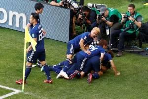 selecao japao comemora gol