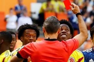 cartao vermelho sanchez colombia penalti