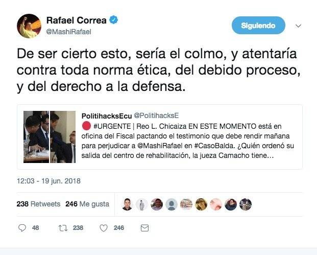Twitter Rafael C. publica documento que demostraría complot en su contra