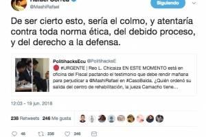 Rafael C. publica documento que demostraría complot en su contra
